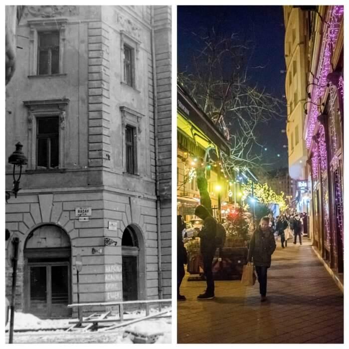 Ráday utca 1957-ben és ma (bal oldali fotó: Fortepan)