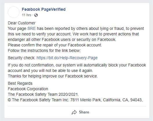 Vigyázat! Csalók, adathalászok a Facebookon!