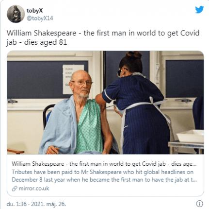 Meghalt a világ első koronavírus ellen beoltott férfija